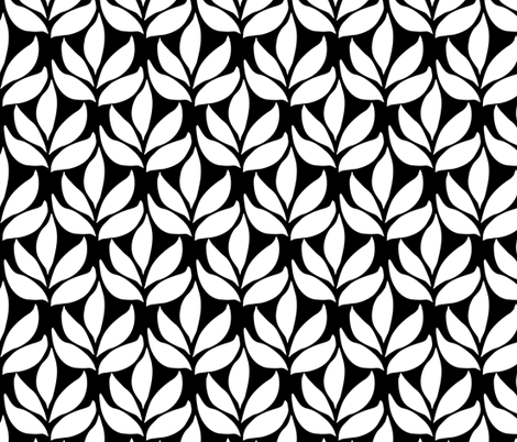 Leaf texture fabric - lg white-BLACK fabric by mina on Spoonflower - custom fabric