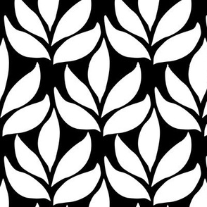 Leaf texture fabric - lg white-BLACK