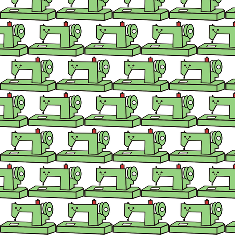 Little Green Sewing Machine fabric by mayabella on Spoonflower - custom fabric