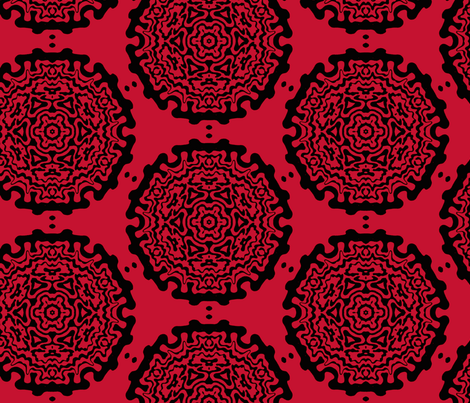 red ornamentic circles 2 fabric by heikou on Spoonflower - custom fabric