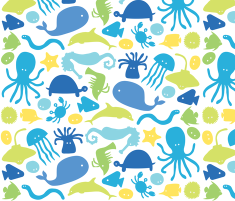 Sea Creatures fabric by ankepanke on Spoonflower - custom fabric