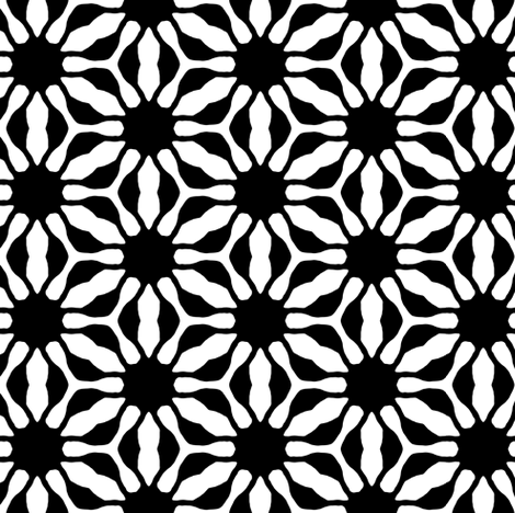 black and white flower fabric by heikou on Spoonflower - custom fabric