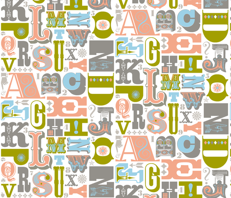 Woodtype Alphabet - Gray Colorway fabric by pennycandy on Spoonflower - custom fabric