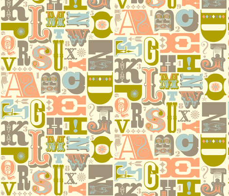 Woodtype Alphabet - Gray Colorway