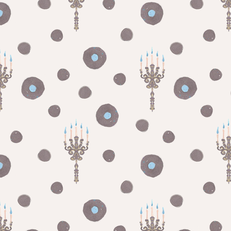 Ghost Candles and Dots fabric by siya on Spoonflower - custom fabric