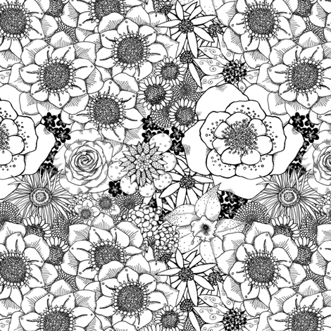 Mess of Flowers - coordinate fabric by tallulahdahling on Spoonflower - custom fabric