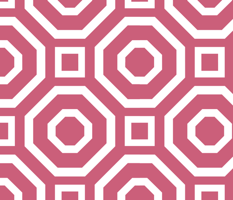 Geometry White on Pink fabric by alicia_vance on Spoonflower - custom fabric
