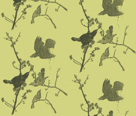 Blackbirds on Green fabric by retrofiedshop on Spoonflower - custom fabric