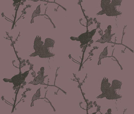 Blackbirds on Purple fabric by retrofiedshop on Spoonflower - custom fabric