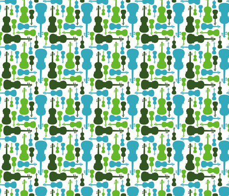 Violins - green and blue fabric by marchingbandstuff on Spoonflower - custom fabric