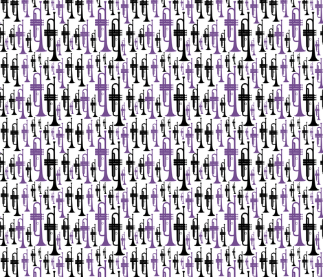 Trumpets - Purple and Black fabric by marchingbandstuff on Spoonflower - custom fabric