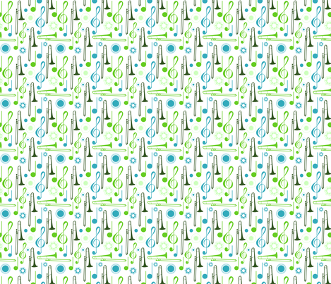 Notes and Clefs with Trombones fabric by marchingbandstuff on Spoonflower - custom fabric