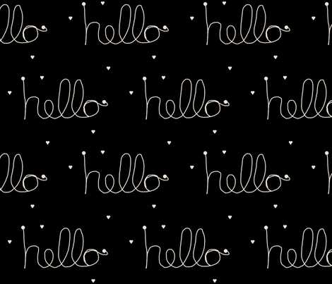 hello black and champagne fabric by ninaribena on Spoonflower - custom fabric