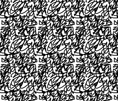 scribble black fabric by jenr8 on Spoonflower - custom fabric