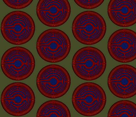 Asian Coin Garnet fabric by david_kent_collections on Spoonflower - custom fabric