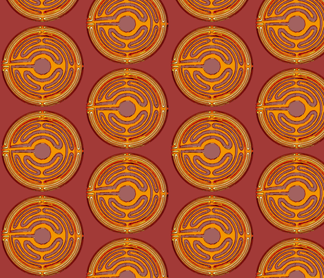 Asian Coin Saffron fabric by david_kent_collections on Spoonflower - custom fabric