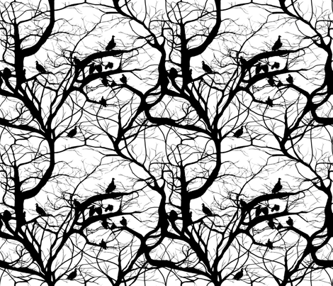 Fashion Vultures In Black & White fabric by peacoquettedesigns on Spoonflower - custom fabric