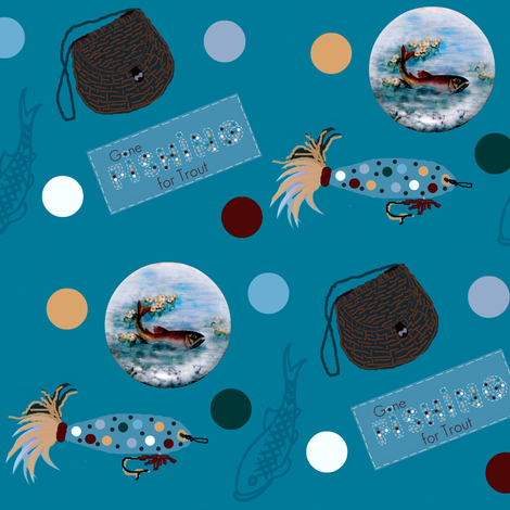 Gone fishing for trout fabric by paragonstudios on Spoonflower - custom fabric