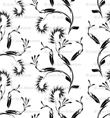 Modern vines black and white