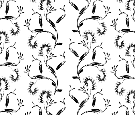 Modern vines black and white fabric by joanmclemore on Spoonflower - custom fabric