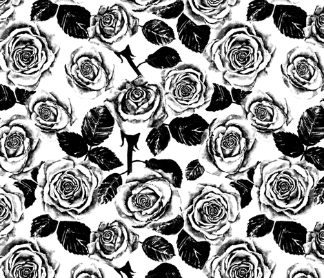 Snow Roses fabric by twobloom on Spoonflower - custom fabric