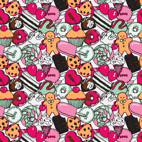Sugar Galore (Pink) fabric by shirayukin on Spoonflower - custom fabric
