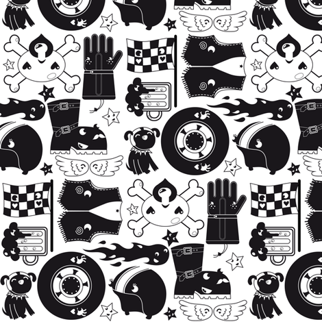 Cute and tough motorcycle design fabric by verycherry on Spoonflower - custom fabric