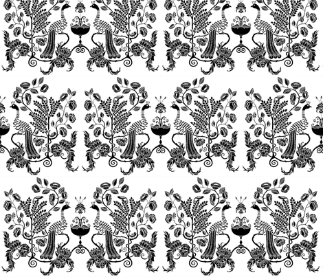 peacock chalice - black on white fabric by uzumakijo on Spoonflower - custom fabric