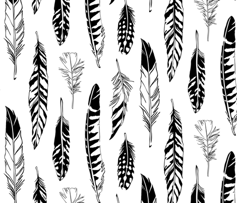 Feathers fabric by cherii on Spoonflower - custom fabric