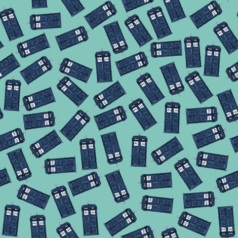 teeny tossed tardis light teal fabric by scrummy on Spoonflower - custom fabric