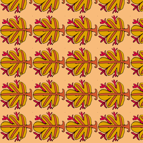 Orange Fig Leaf fabric by vidaliah on Spoonflower - custom fabric
