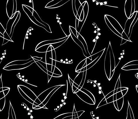 Lily_of_the_Valley_on_Black fabric by meduzy on Spoonflower - custom fabric