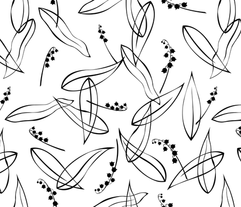 Lily_of_the_Valley_on_White fabric by meduzy on Spoonflower - custom fabric