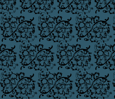 Orient Express Blue Velvet fabric by captiveinflorida on Spoonflower - custom fabric