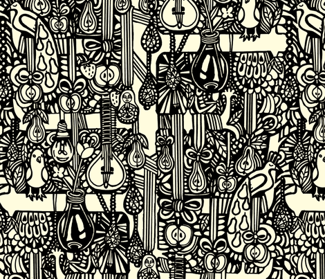 peartree_bw fabric by ruusulampi on Spoonflower - custom fabric