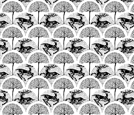 Deer and Trees fabric by leeleeandthebee on Spoonflower - custom fabric