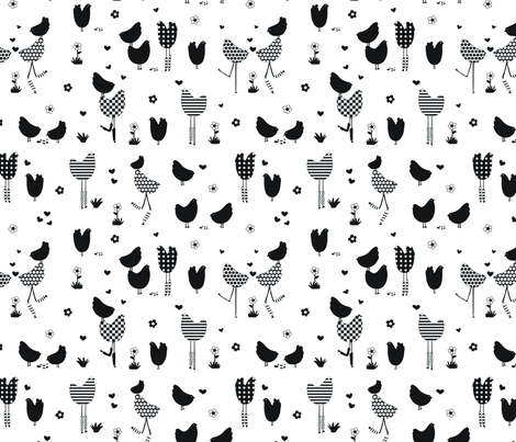 BWchickens! fabric by abby_zweifel on Spoonflower - custom fabric