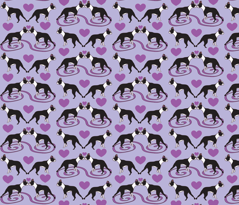 Kissing Bostons in lavender  fabric by missyq on Spoonflower - custom fabric