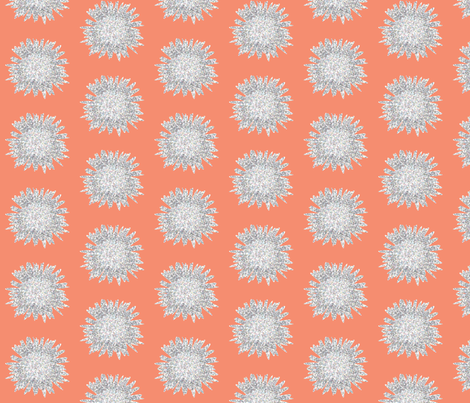 POINTALLISM DAISY summer melon fabric by heatherrothstyle on Spoonflower - custom fabric