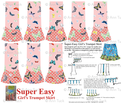 Super Easy Girl's Trumpet Skirt - Quilting weight only. Watermelon Pink