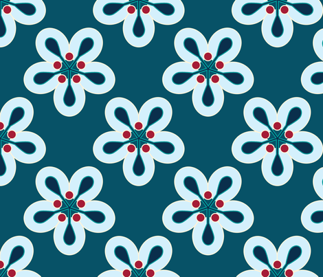 Geometric Flowers - Blue fabric by anntuck on Spoonflower - custom fabric