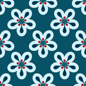 Geometric Flowers - Blue