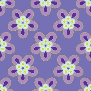 Geometric Flowers - Purple