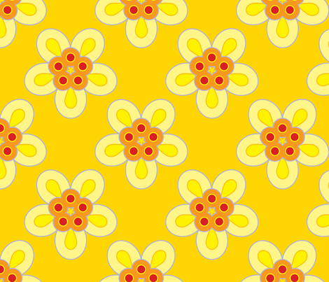 Geometric Flowers - Yellow fabric by anntuck on Spoonflower - custom fabric