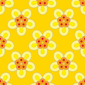 Geometric Flowers - Yellow