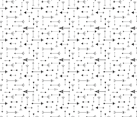 Paper Arrows (petite) black and white fabric by domesticate on Spoonflower - custom fabric