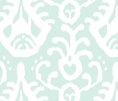 Mint/white Ikat fabric by domesticate on Spoonflower - custom fabric