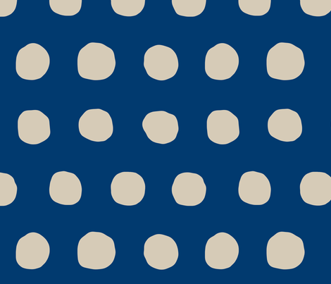 Jumbo Dots in navy/khaki fabric by domesticate on Spoonflower - custom fabric
