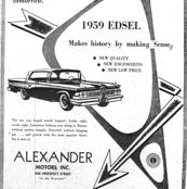 1959 Edsel arrows ad from Alexander Motors in black