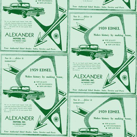 1959 Edsel arrows ad from Alexander Motors in greens fabric by edsel2084 on Spoonflower - custom fabric